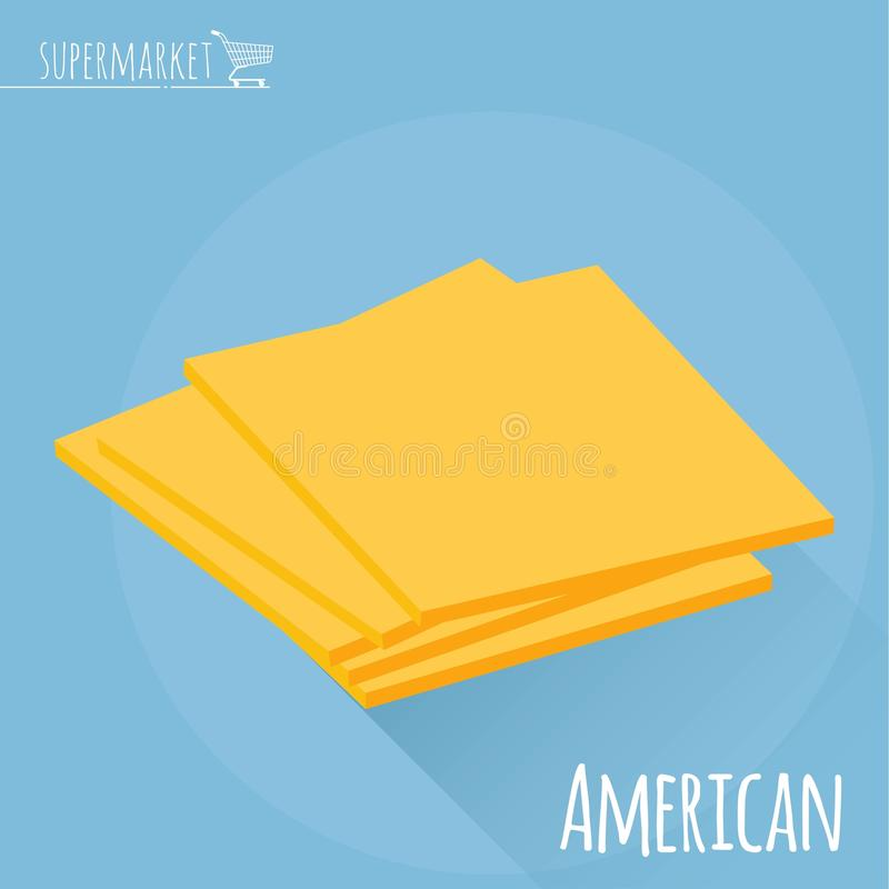 Ícone do vetor do queijo americano ilustração do vetor