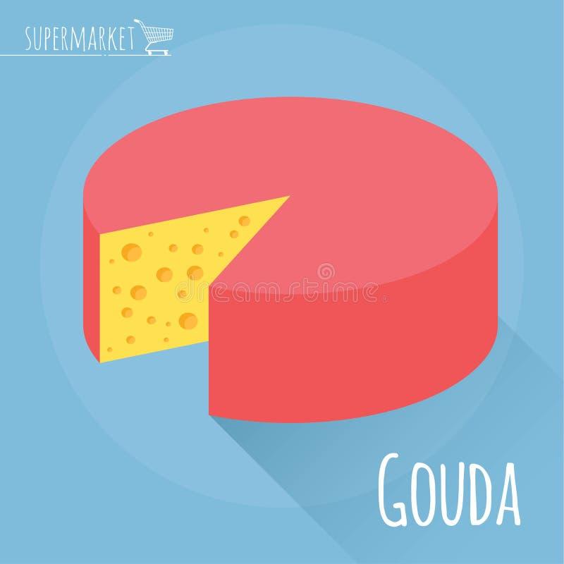 Ícone do vetor do queijo de Gouda ilustração stock