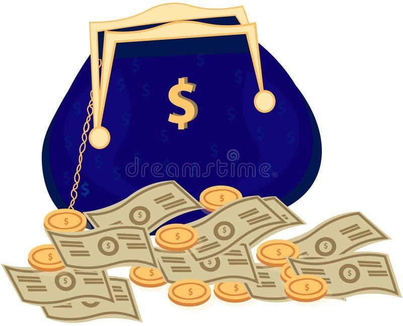 Ícone do vetor do saco do dinheiro com sinal de dólar ilustração royalty free