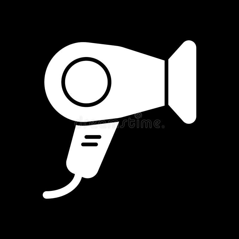 Ícone do vetor do secador de cabelo Ilustração branca do secador de cabelo da sala de hotel no fundo preto Ícone linear contínuo  ilustração do vetor