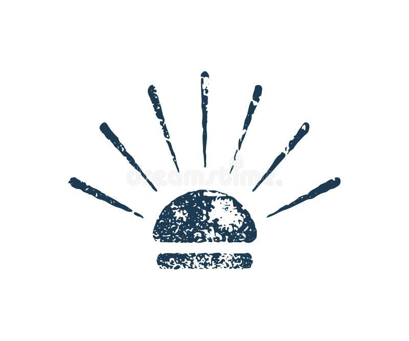 Ícone do vetor do selo do grunge do Hamburger ilustração stock