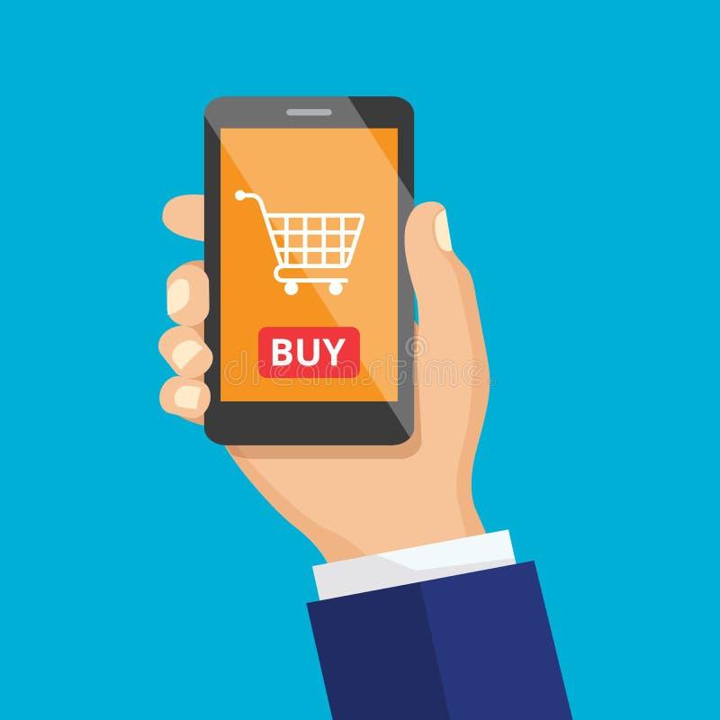 Ícone do vetor do telefone celular à disposição Botão da compra, desi liso ilustração do vetor