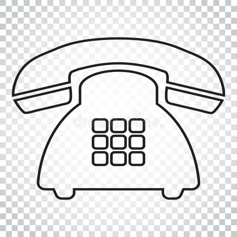 Ícone do vetor do telefone na linha estilo Símbolo velho IL do telefone do vintage ilustração royalty free
