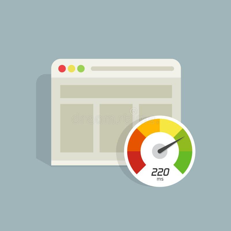 Ícone do vetor do tempo de carga da velocidade do Web site, analisador do seo do web browser ilustração do vetor