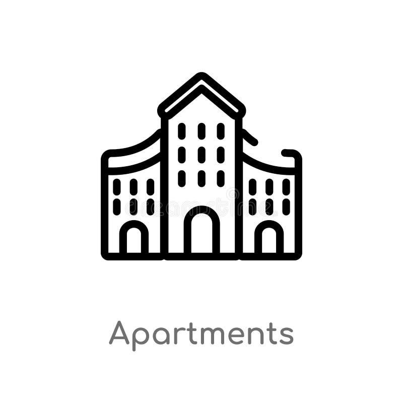 Ícone do vetor dos apartamentos do esboço linha simples preta isolada ilustração do elemento da arquitetura e do conceito do curs ilustração do vetor