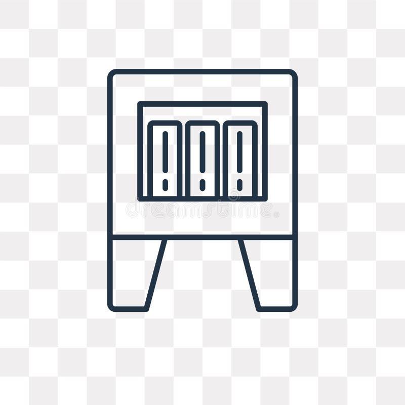 Ícone do vetor dos arquivos isolado no fundo transparente, Fil linear ilustração royalty free