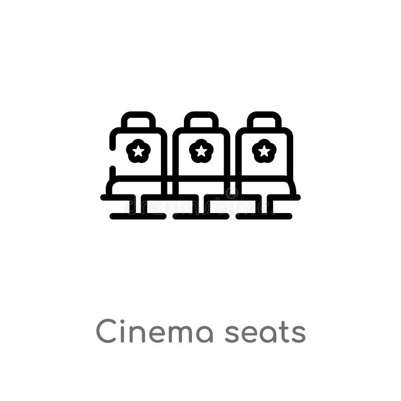 ?cone do vetor dos assentos do cinema do esbo?o linha simples preta isolada ilustra??o do elemento do conceito do cinema Curso ed ilustração do vetor