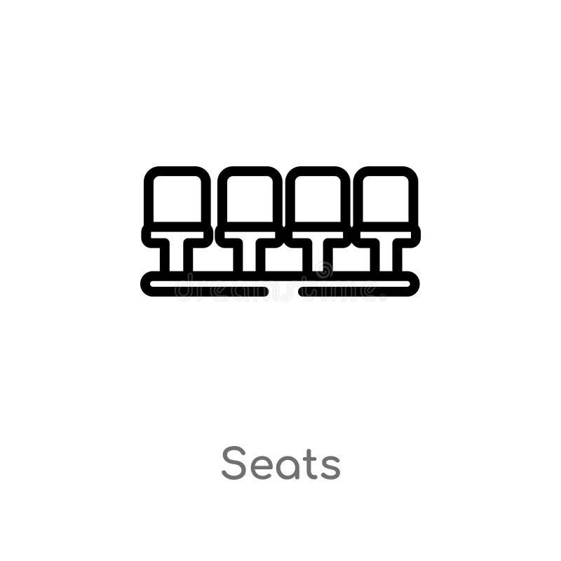 ?cone do vetor dos assentos do esbo?o linha simples preta isolada ilustra??o do elemento do conceito do futebol assentos edit?vei ilustração stock