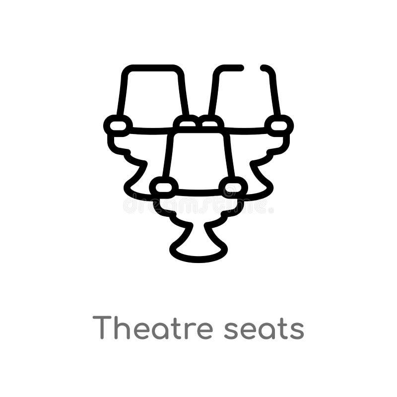 ?cone do vetor dos assentos do teatro do esbo?o linha simples preta isolada ilustra??o do elemento do conceito do cinema Curso ed ilustração stock
