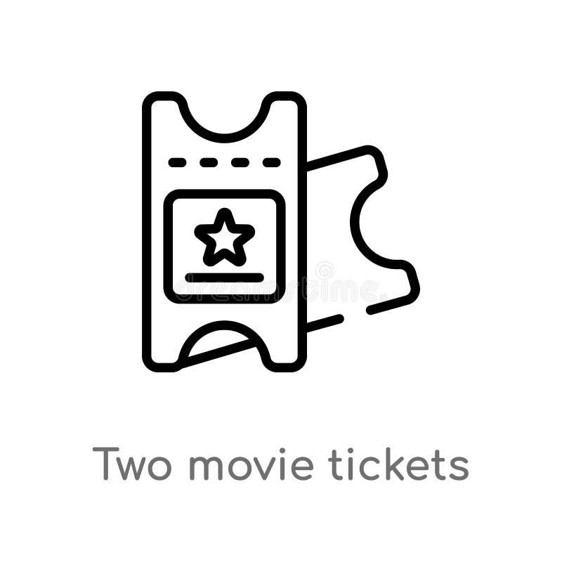 ?cone do vetor dos bilhetes do filme do esbo?o dois linha simples preta isolada ilustra??o do elemento do conceito do cinema Curs ilustração stock