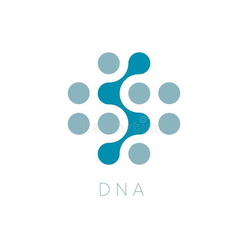 Ícone do vetor dos círculos ADN Logo Template Logotype da ciência Pontilha o símbolo abstrato Ilustração isolada do vetor na plac ilustração stock