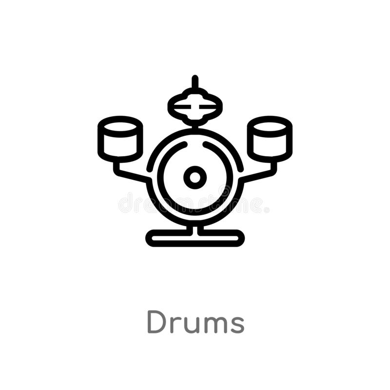 ícone do vetor dos cilindros do esboço linha simples preta isolada ilustração do elemento do conceito da música ícone editável do ilustração stock