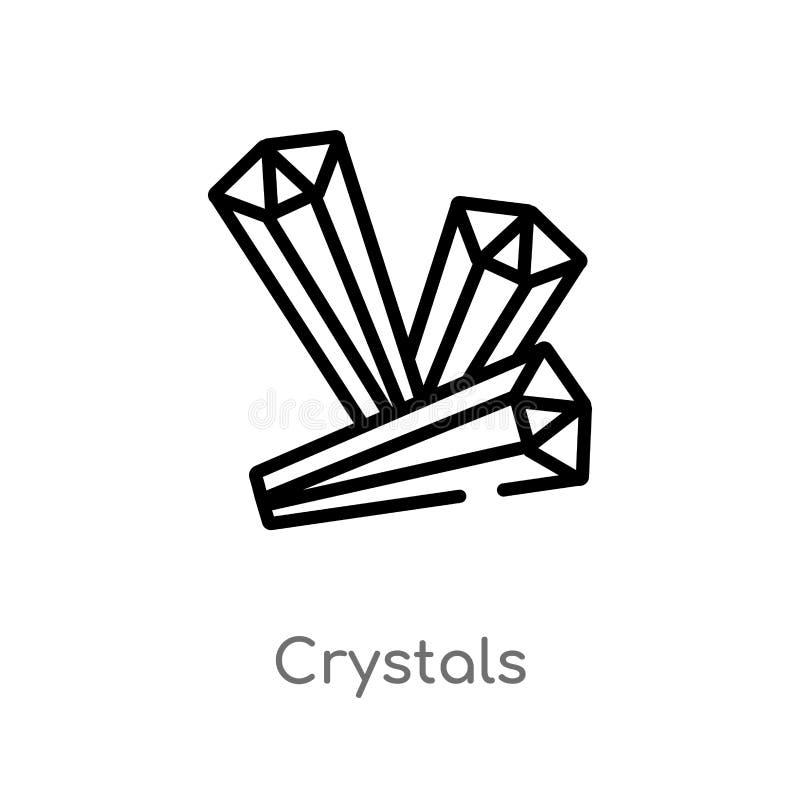 ícone do vetor dos cristais do esboço linha simples preta isolada ilustração do elemento do conceito do Dia das Bruxas Curso edit ilustração do vetor