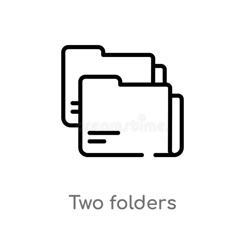 ícone do vetor dos dobradores do esboço dois linha simples preta isolada ilustração do elemento do conceito do negócio r ilustração stock