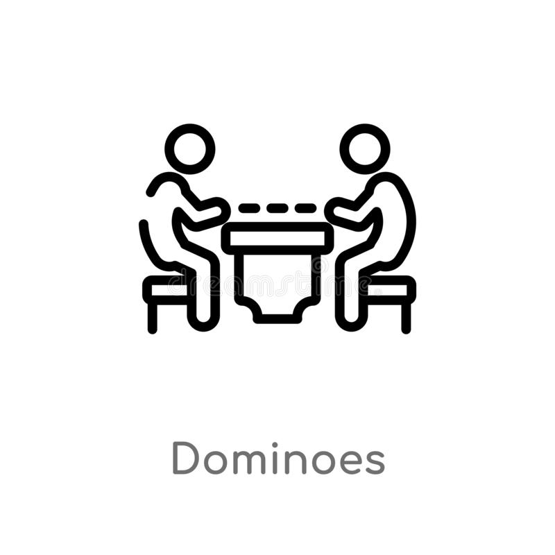 ícone do vetor dos dominós do esboço linha simples preta isolada ilustra??o do elemento da atividade e do conceito dos passatempo ilustração do vetor