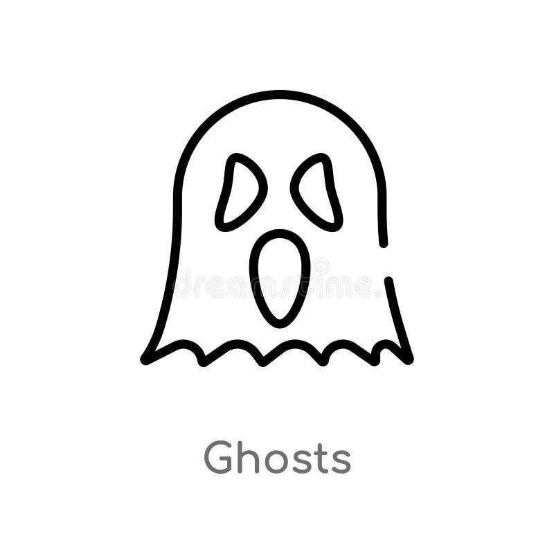 ?cone do vetor dos fantasmas do esbo?o linha simples preta isolada ilustra??o do elemento do conceito do Dia das Bruxas fantasmas ilustração stock