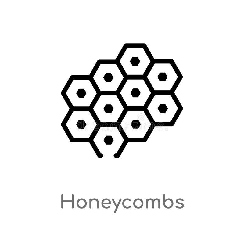 ícone do vetor dos favos de mel do esboço linha simples preta isolada ilustração do elemento do conceito do alimento Curso editáv ilustração do vetor
