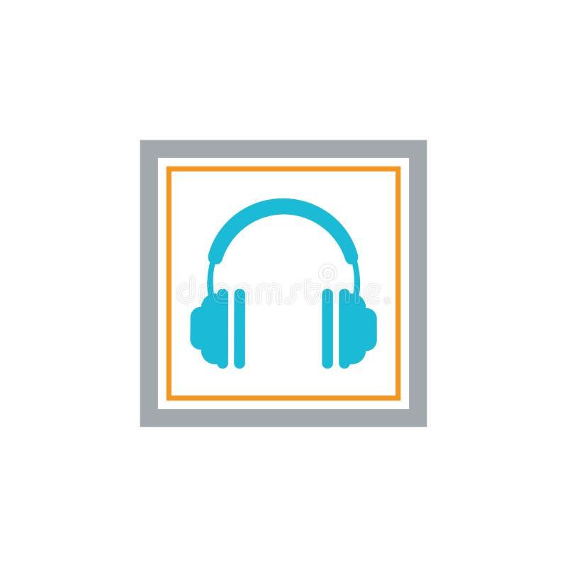 ícone do vetor dos fones de ouvido, projeto da ilustração do vetor do ícone do centro de atendimento ilustração stock