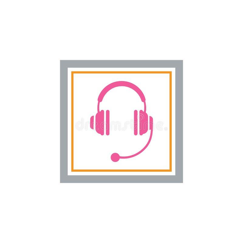 ícone do vetor dos fones de ouvido, projeto da ilustração do vetor do ícone do centro de atendimento ilustração royalty free