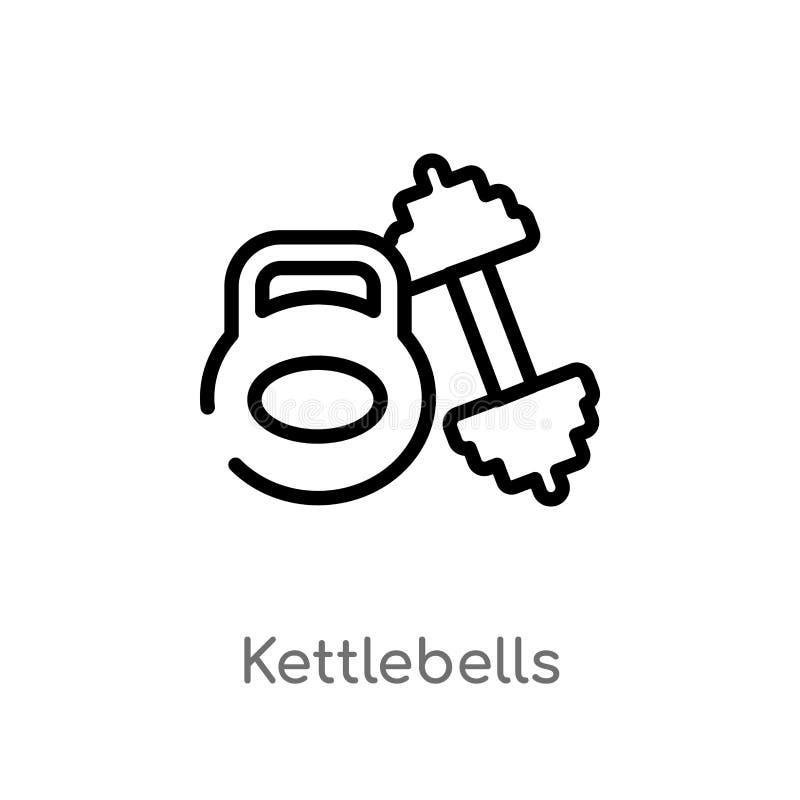 ícone do vetor dos kettlebells do esboço linha simples preta isolada ilustração do elemento do conceito do equipamento do gym Vet ilustração royalty free