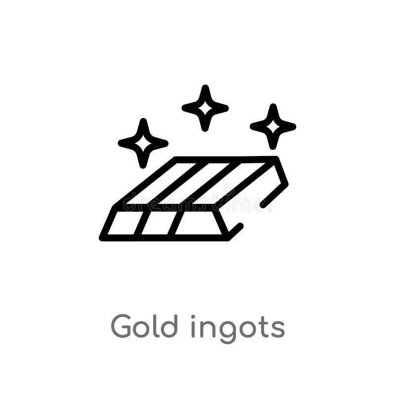 ícone do vetor dos lingotes do ouro do esboço linha simples preta isolada ilustração do elemento da economia e do conceito da fin ilustração stock