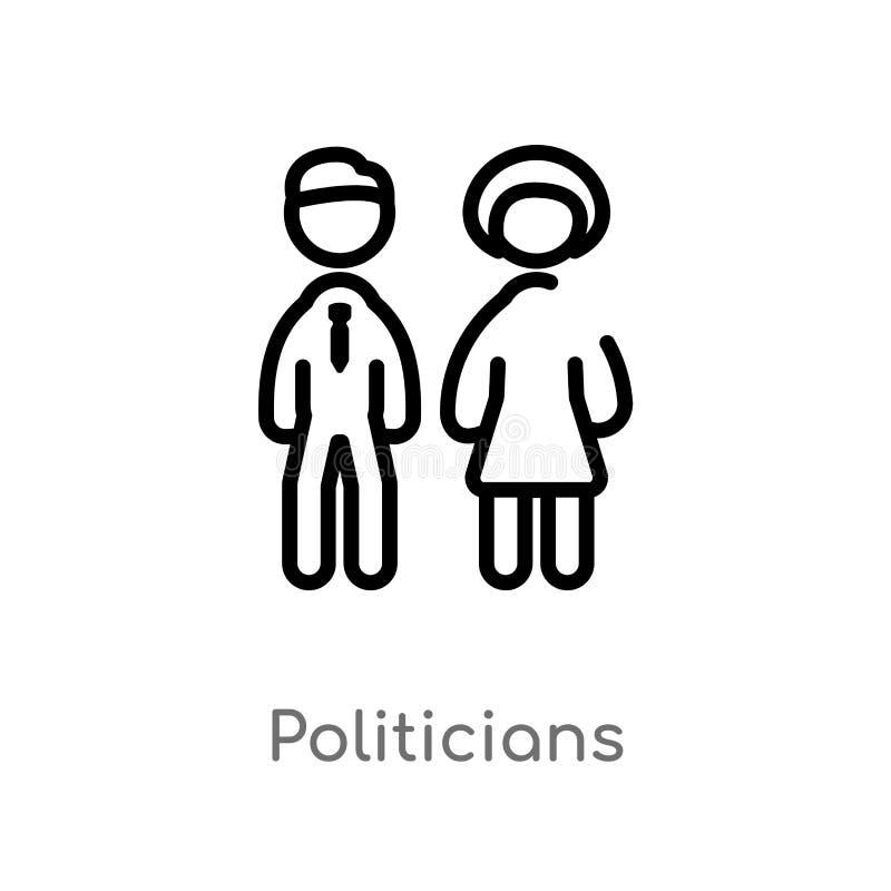 ícone do vetor dos políticos do esboço linha simples preta isolada ilustração do elemento do conceito político Curso editável do  ilustração stock