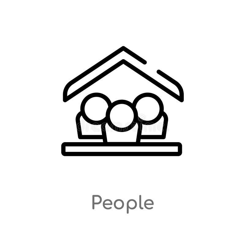 ícone do vetor dos povos do esboço linha simples preta isolada ilustração do elemento do conceito da acomodação Curso editável do ilustração do vetor