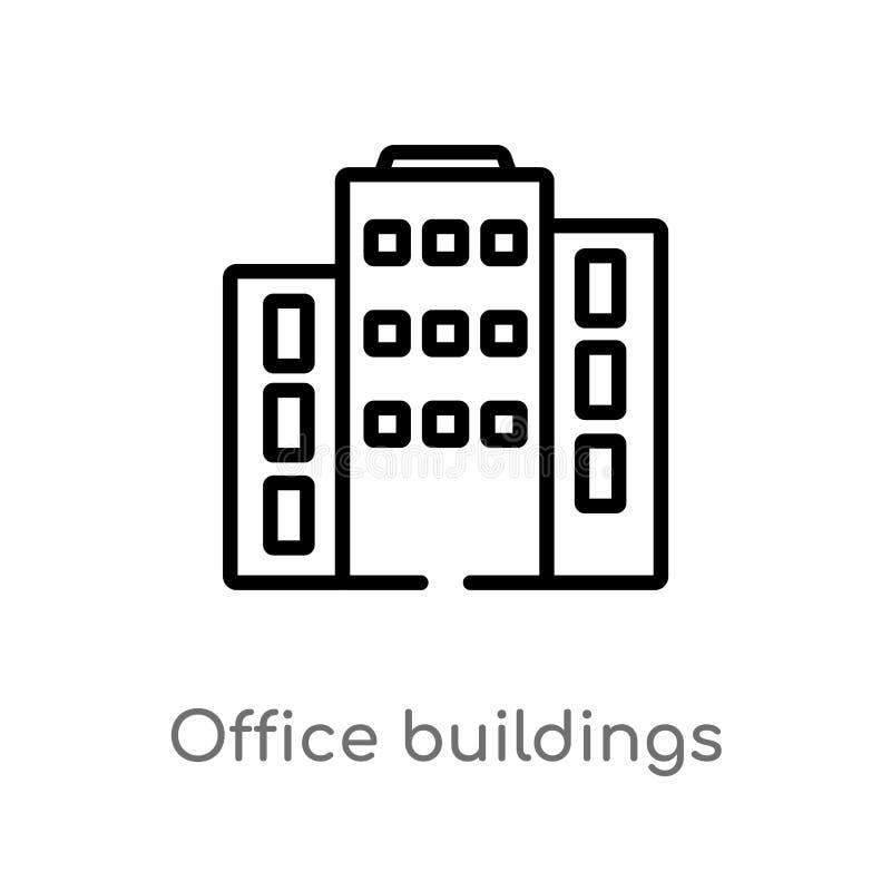 ícone do vetor dos prédios de escritórios do esboço linha simples preta isolada ilustra??o do elemento do conceito das constru??e ilustração stock