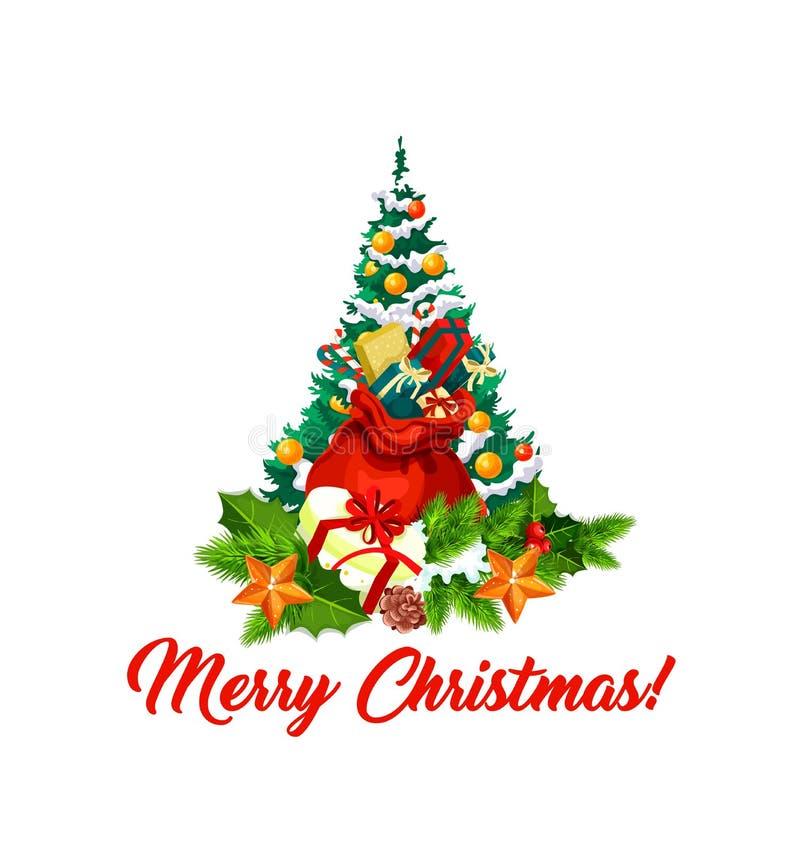Ícone do vetor dos presentes das decorações da árvore do Feliz Natal ilustração stock