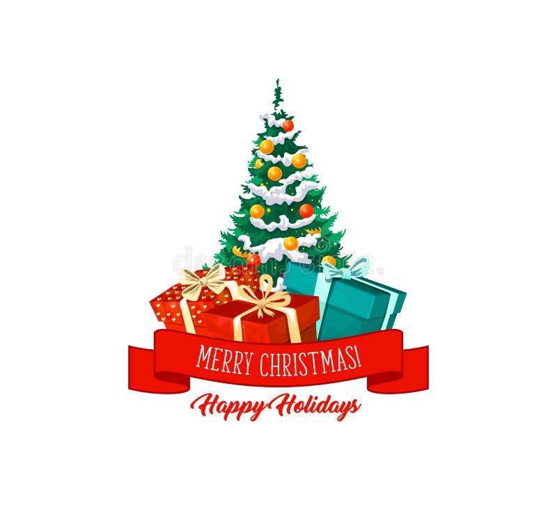 Ícone do vetor dos presentes e das decorações da árvore de Natal ilustração stock