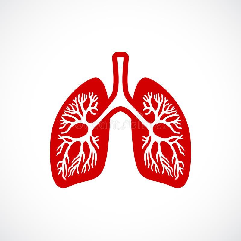 Ícone do vetor dos pulmões da respiração ilustração stock