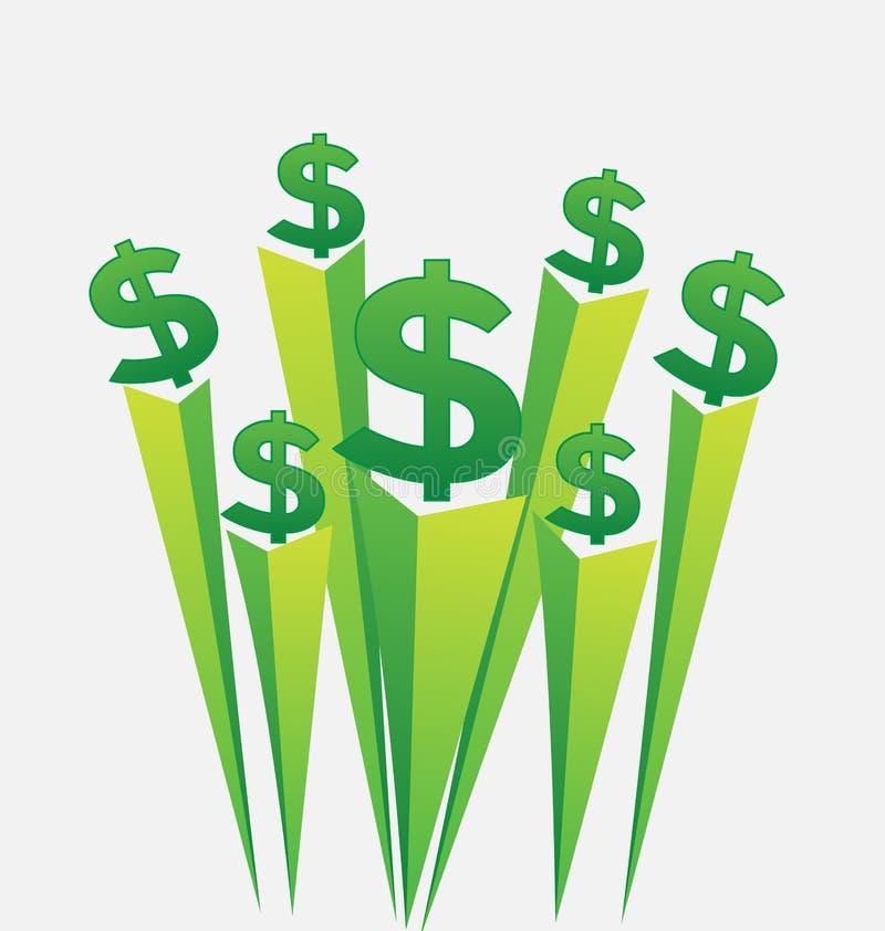 Ícone do vetor dos sinais de dólar do dinheiro verde ilustração royalty free
