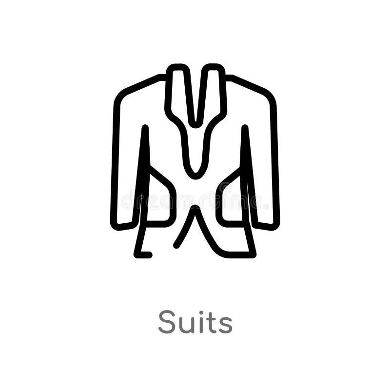 ícone do vetor dos ternos do esboço linha simples preta isolada ilustração do elemento do conceito da acomodação Curso editável d ilustração do vetor