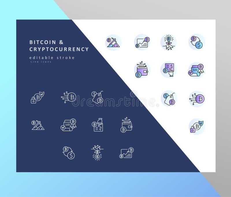 Ícone do vetor e bitcoin e cryptocurrency do logotipo Curso editável do esboço ilustração royalty free