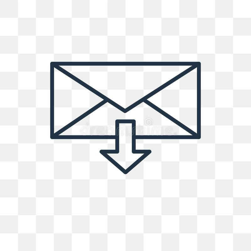 Ícone do vetor do e-mail isolado no fundo transparente, Ema linear ilustração do vetor
