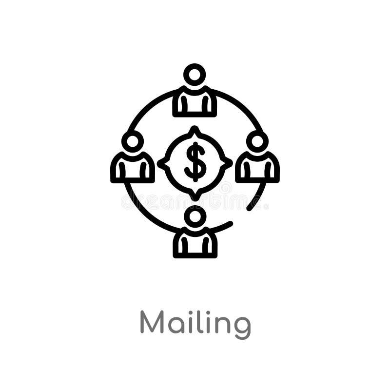 ícone do vetor do enviamento do esboço linha simples preta isolada ilustração do elemento do conceito crowdfunding Curso editável ilustração do vetor