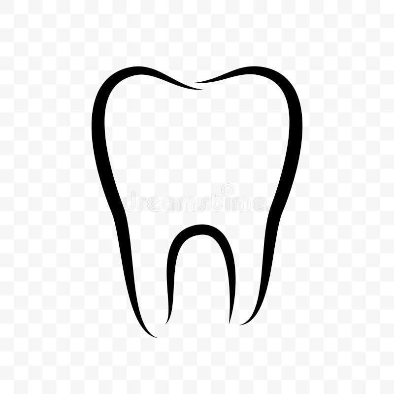 Ícone do vetor do esboço do dente Clínica da odontologia, clareando o dentífrico e a etiqueta dental do pacote do colutório, logo ilustração royalty free