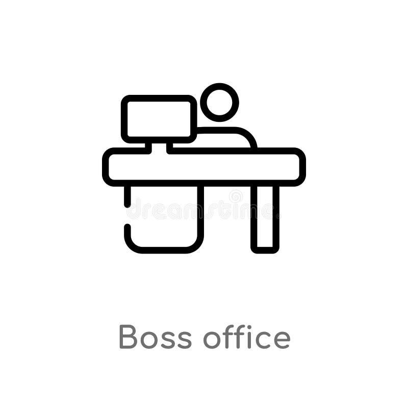 ícone do vetor do escritório do chefe do esboço linha simples preta isolada ilustra??o do elemento do conceito do computador Curs ilustração stock