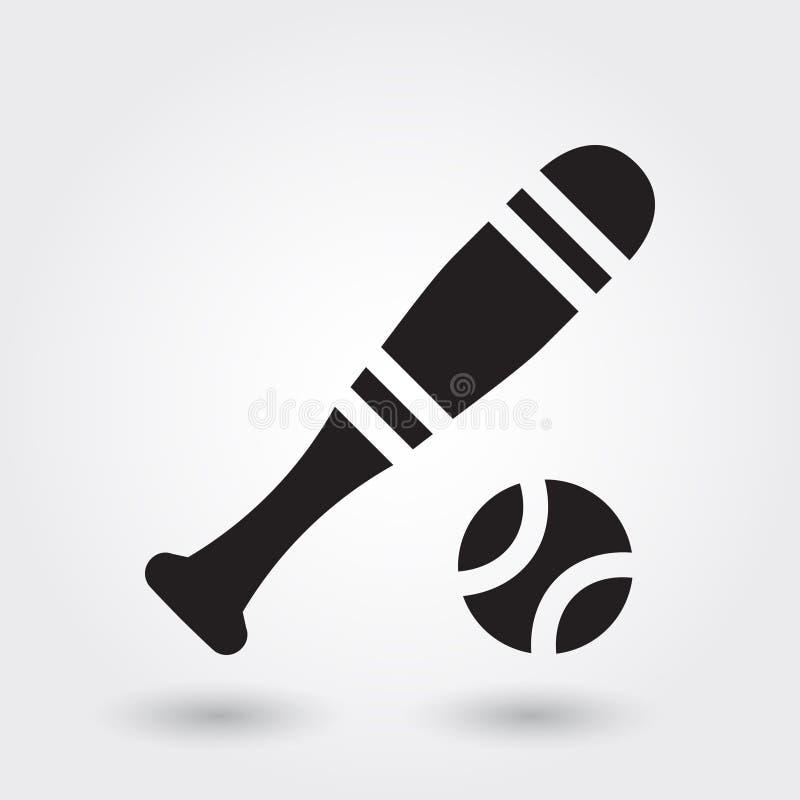 Ícone do vetor do esporte do basebol, ícone da vara do basebol, símbolo dos esportes Glyph moderno, simples ilustração stock