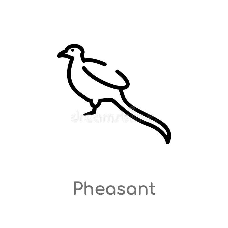 ícone do vetor do faisão do esboço linha simples preta isolada ilustração do elemento do conceito dos animais Curso editável do v ilustração stock