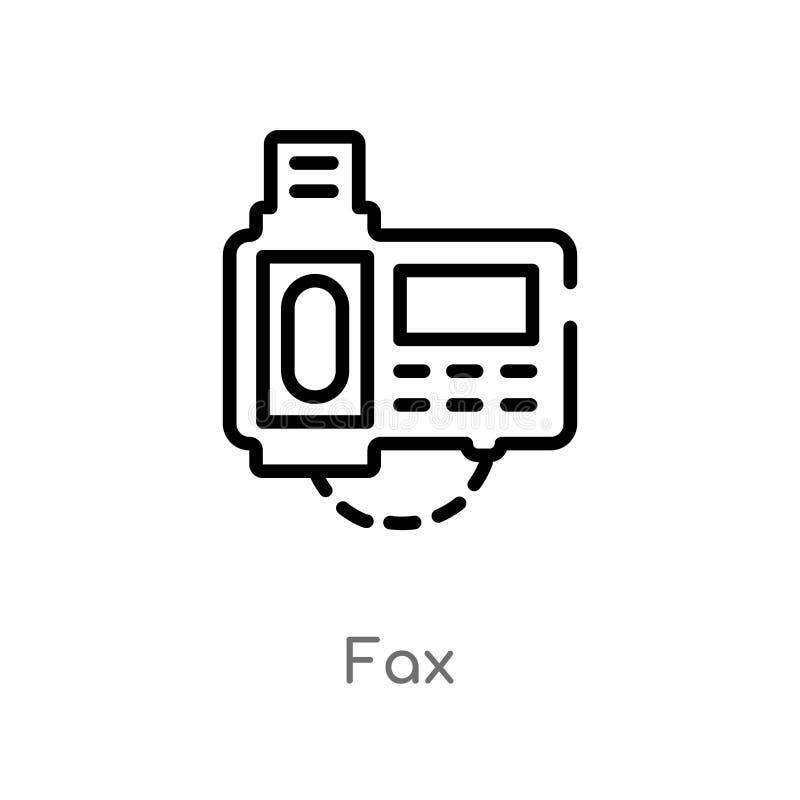 ícone do vetor do fax do esboço linha simples preta isolada ilustração do elemento do conceito de uma comunicação fax editável do ilustração do vetor
