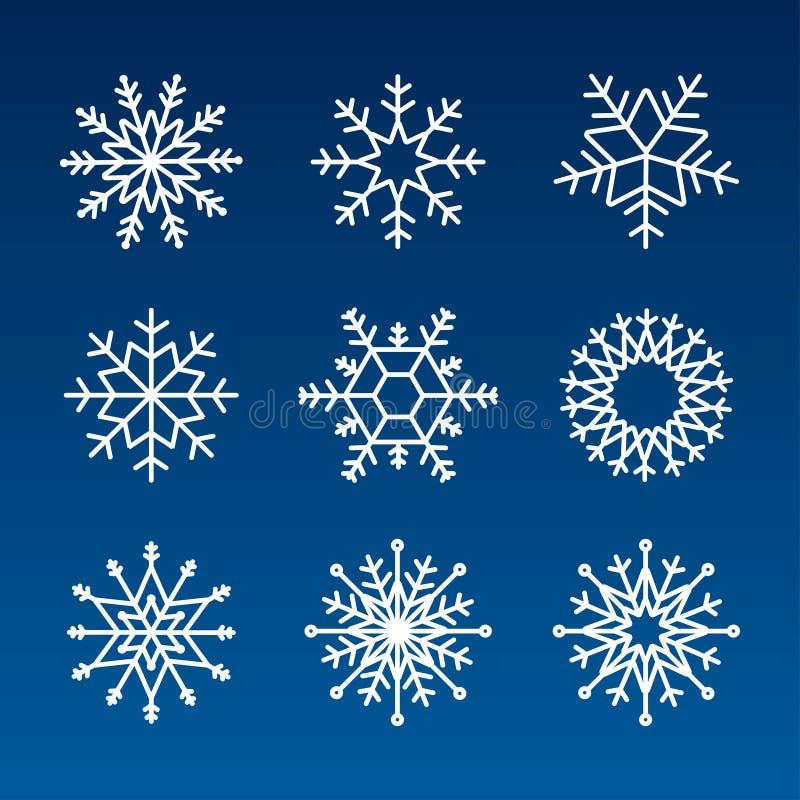 Ícone do vetor do floco de neve com fundo definido de cor branca Elemento de cristal de flocos de neve azul-inverno Ilustração de ilustração stock