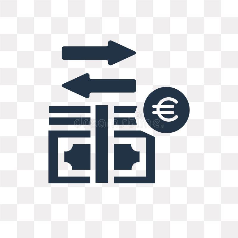 Ícone do vetor do fluxo de dinheiro isolado no fundo transparente, dinheiro ilustração royalty free