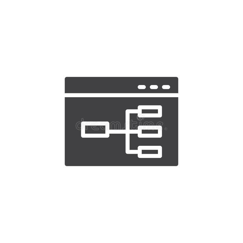 Ícone do vetor do fluxograma do Web site ilustração do vetor