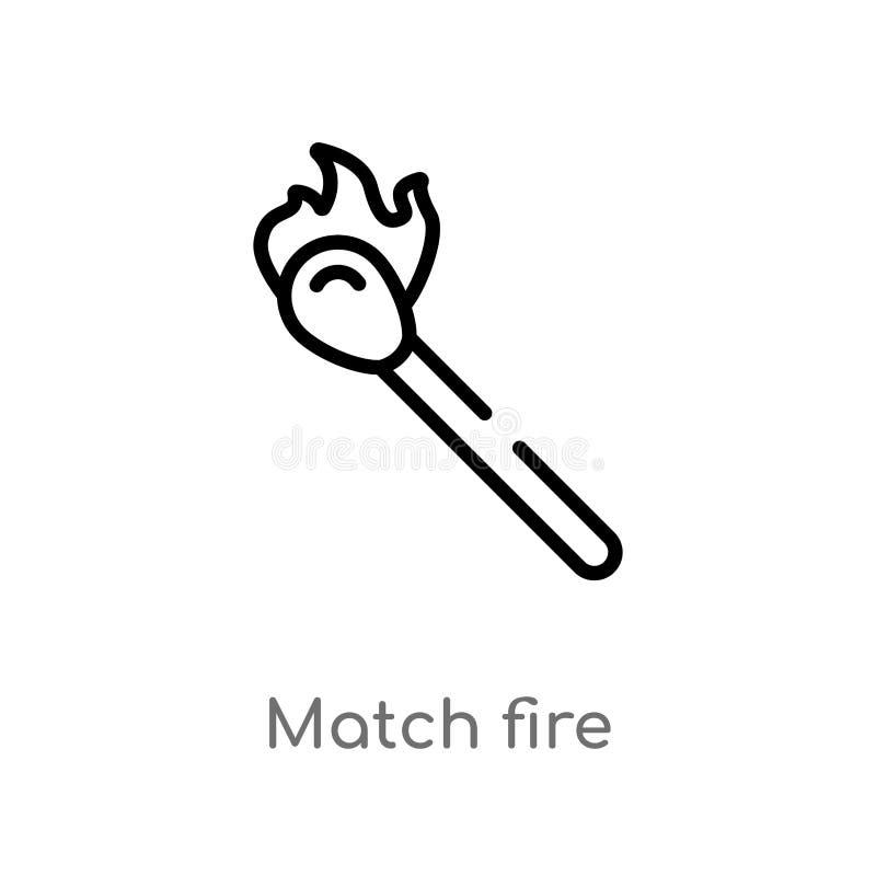 ícone do vetor do fogo do fósforo do esboço linha simples preta isolada ilustra??o do elemento do conceito da seguran?a Curso edi ilustração royalty free