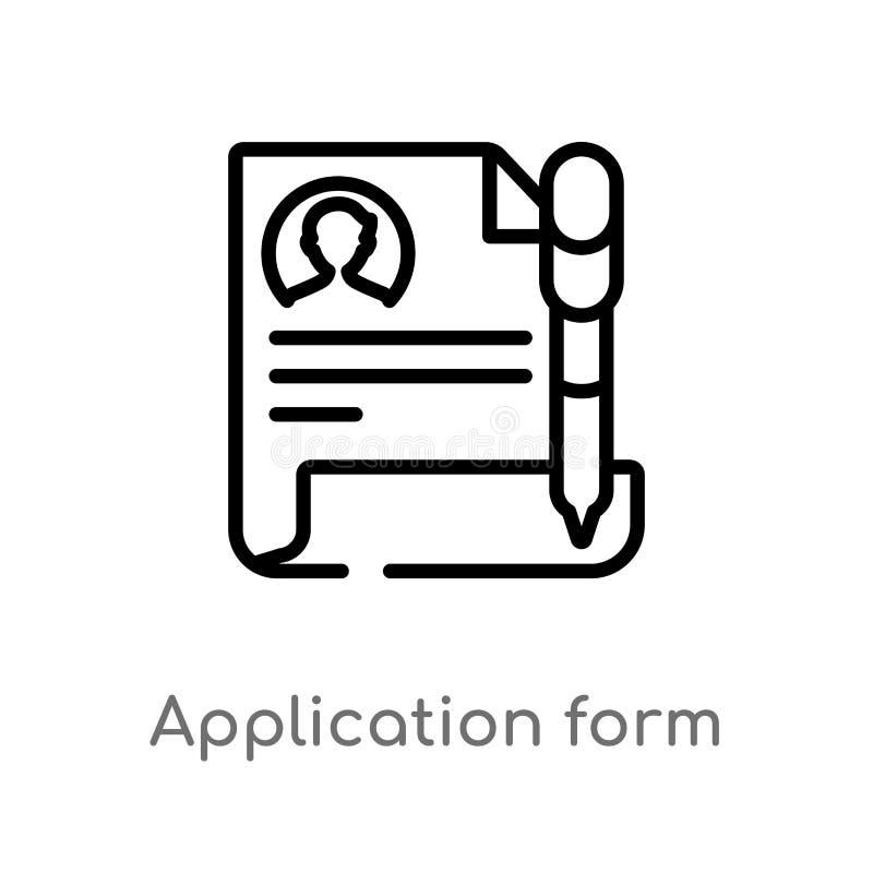 ícone do vetor do formulário de candidatura do esboço linha simples preta isolada ilustração do elemento do conceito da educação  ilustração royalty free