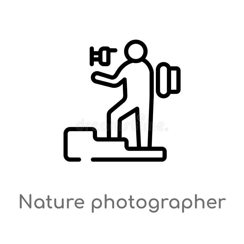 ícone do vetor do fotógrafo da natureza do esboço linha simples preta isolada ilustração do elemento do conceito dos seres humano ilustração stock