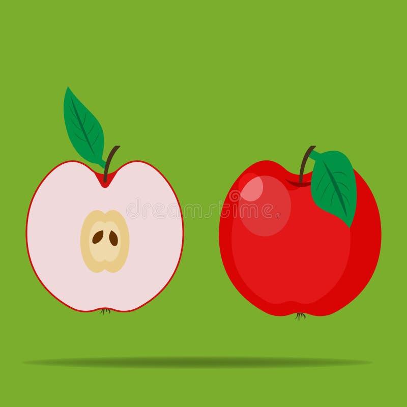 Ícone do vetor do fruto da maçã Maçã brilhante Metade de um Apple Apple ilustração stock