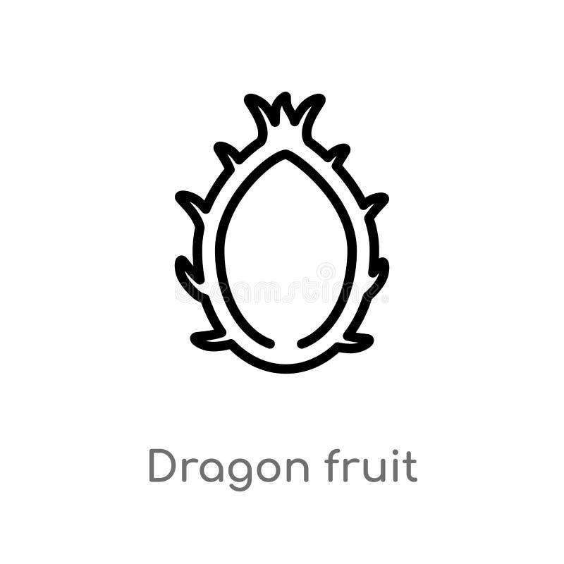 ?cone do vetor do fruto do drag?o do esbo?o linha simples preta isolada ilustra??o do elemento do conceito das frutas e legumes e ilustração do vetor