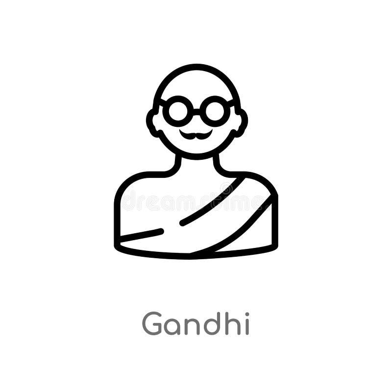 ícone do vetor do gandhi do esboço linha simples preta isolada ilustração do elemento do conceito da caridade gandhi editável do  ilustração do vetor